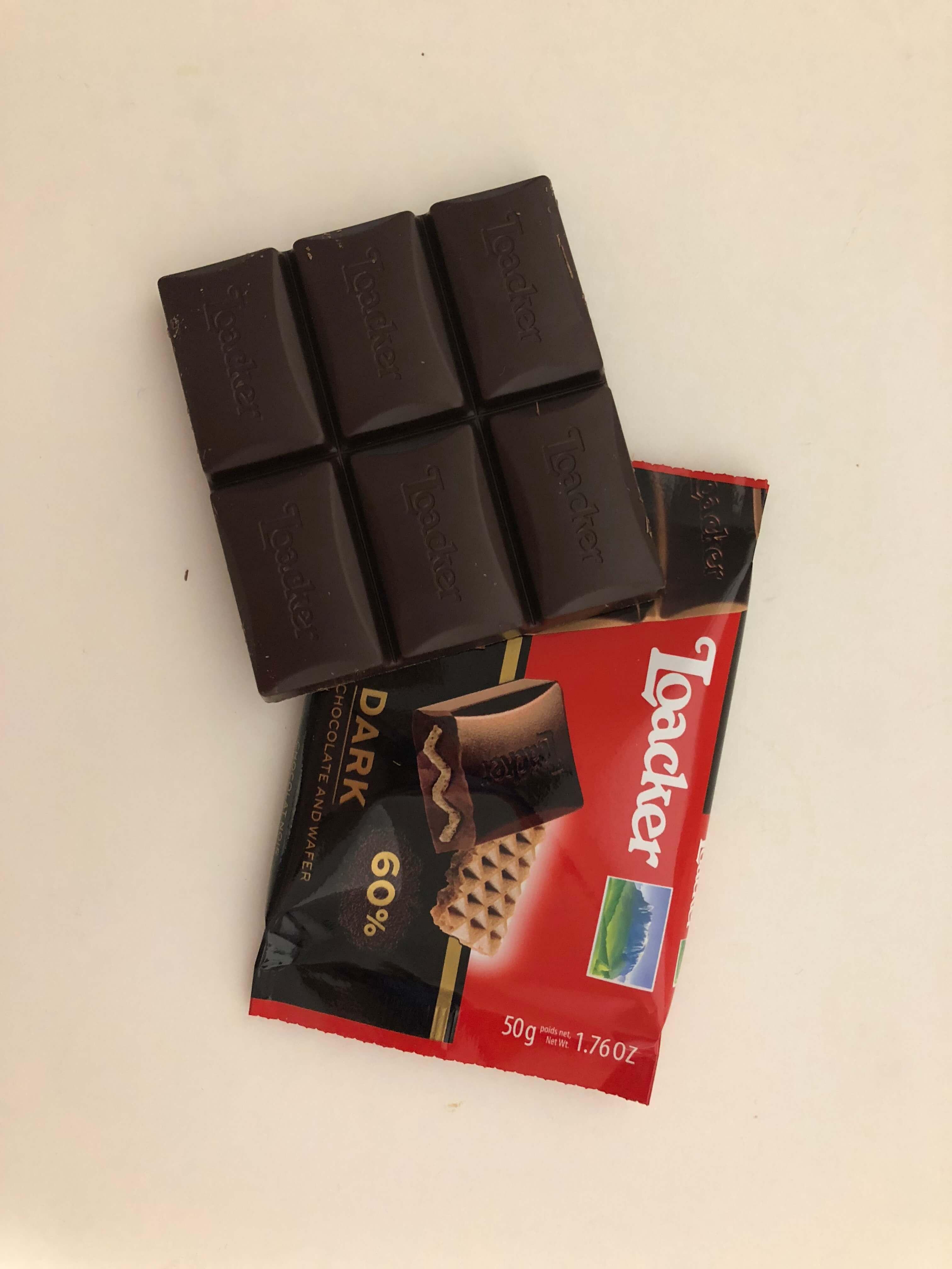 ローカーチョコレートのダークが甘さ控えめで美味しい。